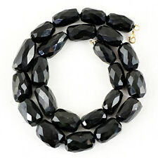 611.50 CTS NATURAL RICH BLACK SPINEL UNTREATED FACETED BEADS HAND MADE NECKLACE