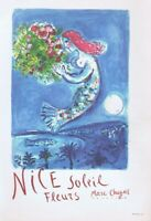 Marc Chagall Nice Soleil Fleurs Poster Offset Lithograph Vintage 1966