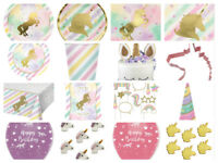 Unicorn Sparkle Childrens Birthday Party Cups Plates Napkins Invites Loot Bags