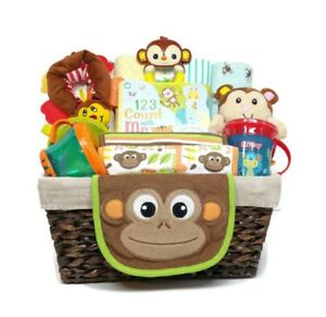 Monkey Baby Gift Basket Receiving Blankets Bibs Toys Baby Shower Welcome Gift