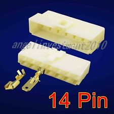 5sets 14 Way Pin 6.3mm 14P Connector Plug + Socket Kit