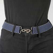 Navy Elastic Belt Womens Chain Link Silver Blue Elasticated Snake Belt Unisex UK