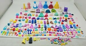 Polly Pocket Doll Accessories Lot Clothes, Shoes, Rubber, Magnetic, Clip On