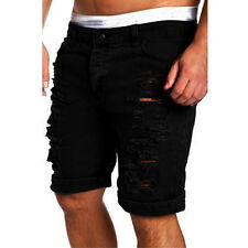 Fashion Men's Hole Destroyed Ripped Casual Jeans Knee Length Denim Pants Shorts