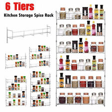 6 Tiers Wall Mount Kitchen Door Cupboard Spice Rack Pantry Bottle Jar Holder