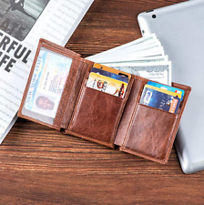 RFID Blocking Genuine Leather Slim Trifold Wallet for Men With Large ID Window