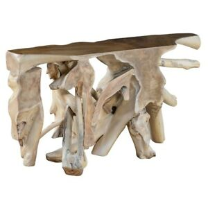 """60"""" W Abel One of a Kind Console Table Solid Teak Wood Natural Free Form Modern"""