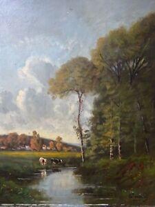 Tableau ancien Peinture huile sur toile Bord de rivière Fin XIXe Barbizon