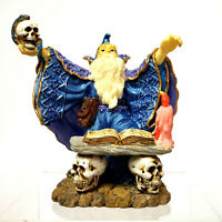 "Wizard Statue Sorcerer Holding Skull Book of Spells Candle 5 1/2"" x 5"" Halloween"