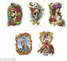 10 Custom Pirate Pirate's Life Sailor Jolly Roger Temporary Tattoos Set Lot