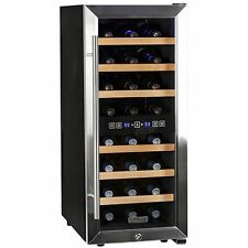Dual Zone 24 Bottle Stainless Steel Wine Cooler, Free Standing Compact Chiller