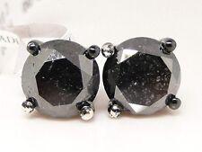 7 Ct 14K Black On Black Mens Ladies Xl Black Diamond Solitaire Stud Earrings