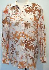 ESCADA Rare Vintage Multicolored 100 % Silk Blouse With Fall Leaf Design Size 38