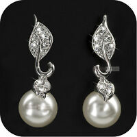 18K WHITE GOLD GP MADE WITH SWAROVSKI CRYSTAL PEARL EARRINGS STUD