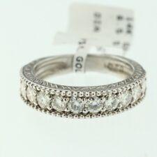Womens 14k White Gold Genuine Round Moissanite Lady Wedding Band Engagement Ring
