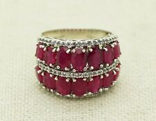 Estate Sterling Silver Natural Ruby & White Topaz Cluster Cocktail Ring Size 8