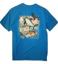 Guy Harvey Mens Short Sleeve Blue Marlin Fish Birds T-Shirt Cotton size S Small