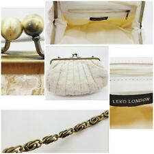 Leko London Ladies Netted Clasp Clutch Over the Shoulder Bag Cream Floral