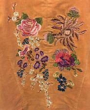 True Meaning Corduroy Embroidered Beaded Hippie Boho Jacket Gold Sz 12 EUC