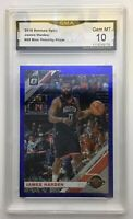 JAMES HARDEN 2019-20 Donruss Optic #68 BLUE VELOCITY Prizm #68 GMA 10 Gem Mint