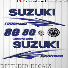 Suzuki 80 hp Four Stroke outboard engine decal sticker set kit reproduction BLUE