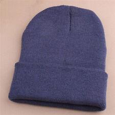 Unsex Mens Beanie Knit Ski Cap Hip-Hop Dark Gray Winter Warm Chic Hat