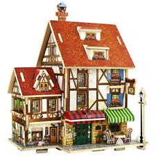 Kids 3D Wooden Puzzle Dollhouse Children Doll Wood House Puzzle Educational Toy