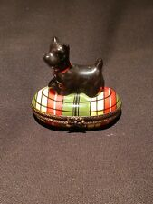 Limoges Dog on his Blanket Pill Box