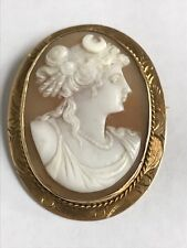 Carving of Diana with Crescent Moon Carved Helmetshell 14K Gold Cameo Pin/Brooch