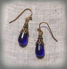 BRASS COBALT BLUE GLASS SMALL TEAR DROP EARRINGS VICTORIAN DECO EDWARDIAN BOHO