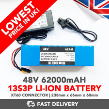 48v 62000mAh DC Rechargeable Li-ion Battery Power Pack 13S3P T-TYPE 1000W - UK