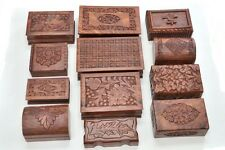 12 PCS HANDMADE ROSEWOOD HAND CARVED WOOD CHEST JEWELRY BOX #F-290