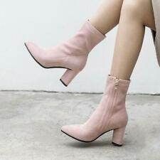 Women Elastic Pointy Toe Booties Suede Fabric Block Heel Dress Ankle Boots Shoes