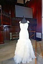 STUNNING WEDDING BRIDAL GOWN BY HILARY MORGAN IVORY SIZE 14 MERMAID 40584