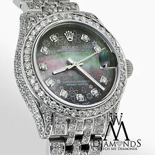 Diamond Ladies Rolex Datejust 26mm Stainless Steel Black Flower MOP Watch