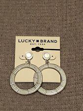 lucky brand drop dangle earrings circle shape silver tone disc back brand new