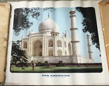 Vintage Original Pan Am 19 x 16 Poster Taj Haha India 1960