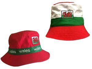 New Wales Cymru Am Byth Welsh Dragon Stripe Football Rugby Patriotic Bucket Hats