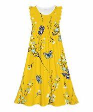 $60 Emma & Elsa Yellow Floral & Butterfly Angel-Sleeve Maxi Dress Size 7/8