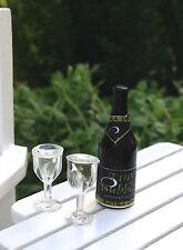 Miniature Dollhouse FAIRY GARDEN ~ TINY Champagne Bottle & 2 Glasses