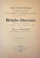 GAUTIER Dou Prouvençau e de sou influenci Escolo di Felibre de la Mar 1890