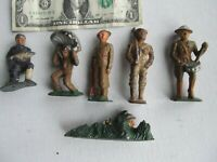 6 Special Vintage WWI, WWII Painted Toy Lead Soldiers, Drum, Sniper, Parachute