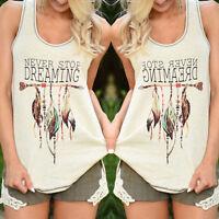 Womens Summer Vest Blouse Shirt Ladies Sleeveless Loose Tank Tops Beach T-shirt