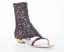 GIORGIO ARMANI Dark Brown VERGOLINO Satin Woven Ankle Flat Boot Sandal 9-39 NEW