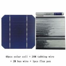 100W DIY Solar Panel Charger Kit 40Pcs Monocrystall Solar Cell 5x5 With 20M Tabb