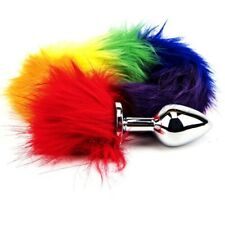 Furry Fantasy Rainbow Tail Metal Butt Plug 2.75 Inch Anal Sex Toy & STORAGE BAG