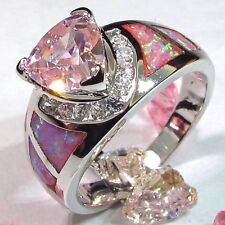 JUNXIN Pink Sapphire Fire Opal Engagement Wedding Ring Silver Fashion Jewelry