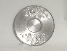 Vintage 11.5 inch Aluminum Serving Dish Bowl Plate with Flowers Roses