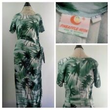 Pineapple Moon Green/White Short-Sleeve Hawaiian Vacation Wrap-Tie Dress L