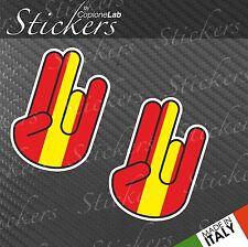 2 adesivi auto moto JDM sticker bomb Shocker hand Spain flag small